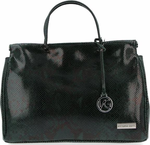 Czarna torebka VITTORIA GOTTI ze skóry z breloczkiem do ręki