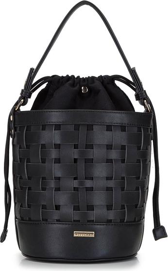 Czarna torebka Wittchen na ramię ze skóry ekologicznej w wakacyjnym stylu