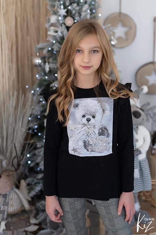 Czarna tunika dziewczęca e-lily.pl dla dziewczynek