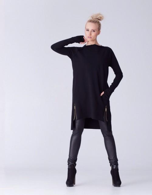 Czarna tunika VzooR w stylu casual z dresówki