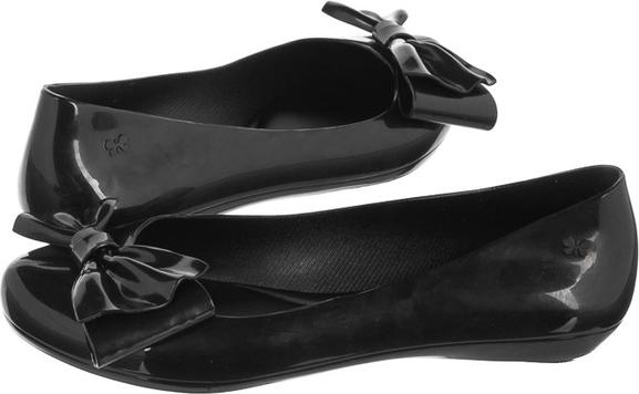 Czarne baleriny Zaxy z płaską podeszwą