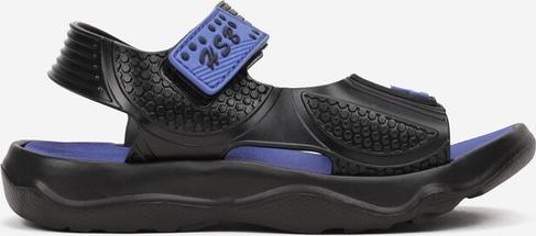 Czarne buty dziecięce letnie born2be na rzepy dla chłopców ze skóry