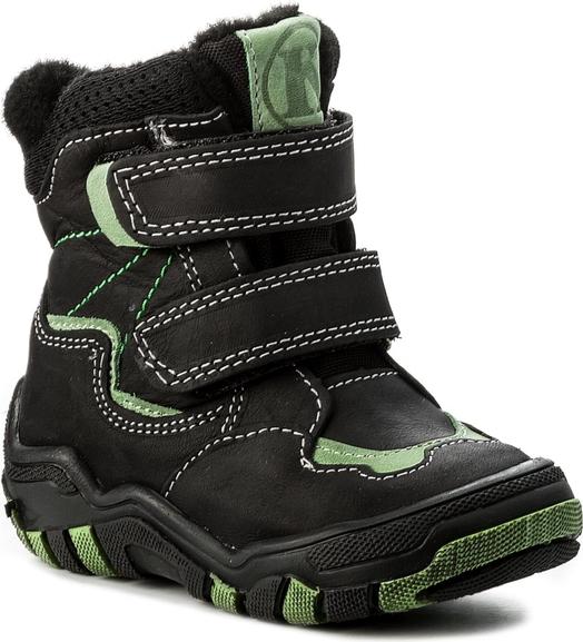 Czarne buty dziecięce zimowe kornecki z tworzywa sztucznego