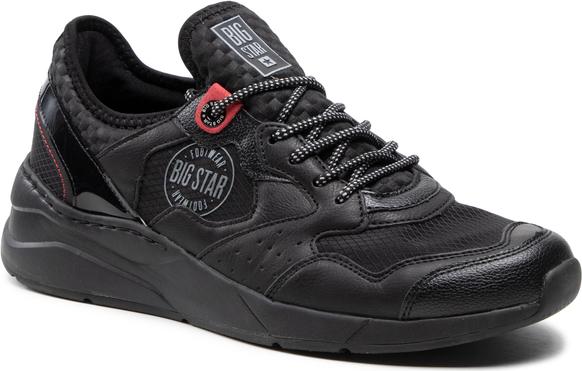 Czarne buty sportowe Big Star sznurowane w sportowym stylu
