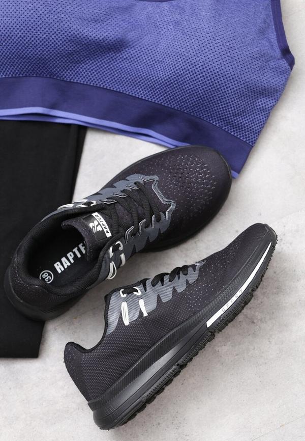 Czarne buty sportowe born2be w sportowym stylu z płaską podeszwą sznurowane