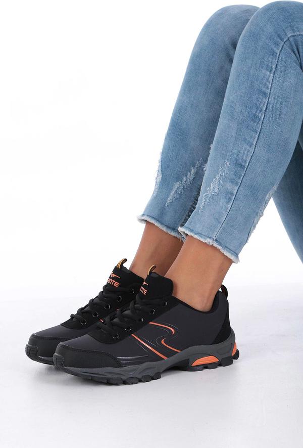 Czarne buty sportowe Casu ze skóry ekologicznej sznurowane