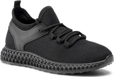 Czarne buty sportowe DeeZee sznurowane z płaską podeszwą