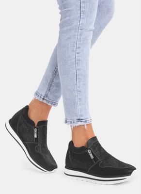 Czarne buty sportowe DeeZee w sportowym stylu z płaską podeszwą