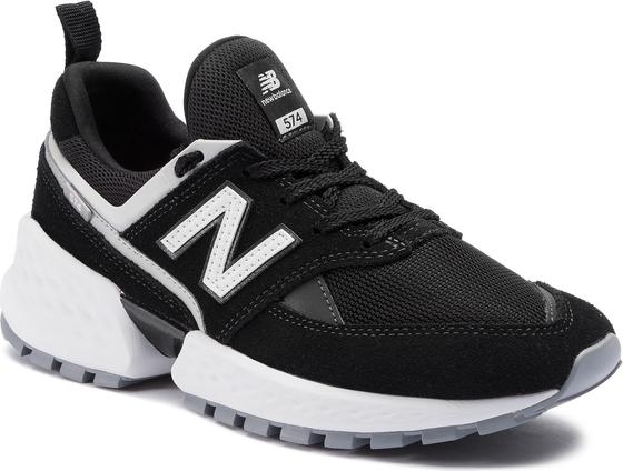 Czarne buty sportowe New Balance ze skóry ekologicznej w sportowym stylu sznurowane