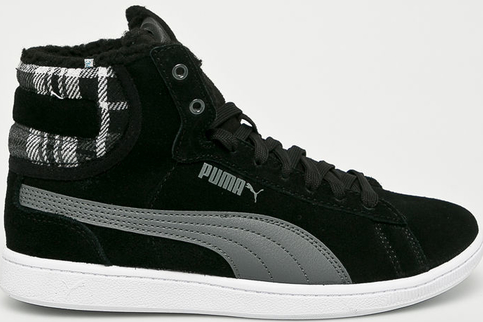 Czarne buty sportowe Puma ze skóry sznurowane