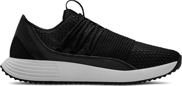 Czarne buty sportowe Under Armour sznurowane w sportowym stylu na koturnie