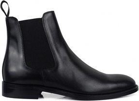 Czarne buty zimowe Alberto ze skóry