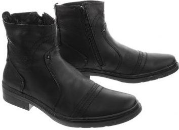 Czarne buty zimowe butyolivier.pl na zamek ze skóry