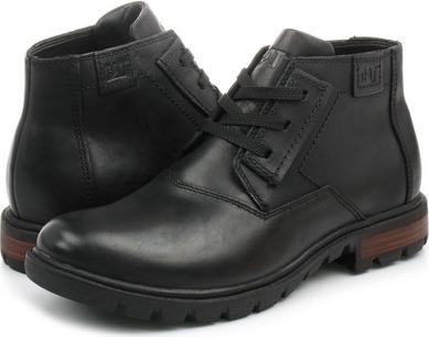 Czarne buty zimowe Caterpillar sznurowane w stylu casual