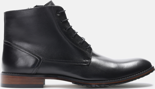 Czarne buty zimowe Kazar sznurowane ze skóry