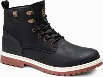 Czarne buty zimowe Ombre sznurowane