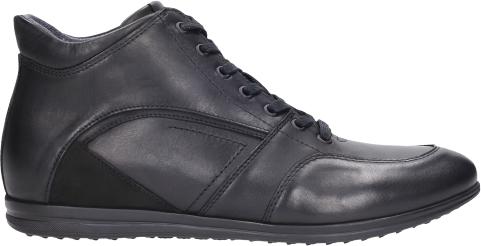 Czarne buty zimowe Wojas ze skóry