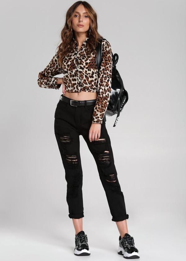 Czarne jeansy Renee w street stylu