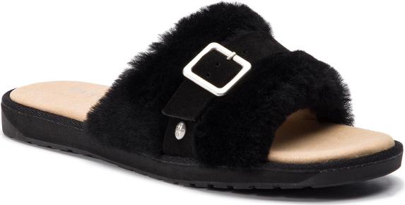 Czarne klapki Emu Australia z płaską podeszwą z zamszu w stylu casual