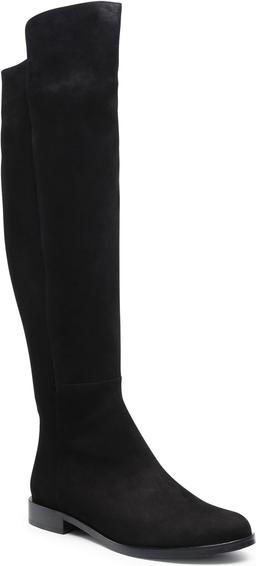 Czarne kozaki Badura z weluru z płaską podeszwą w stylu casual