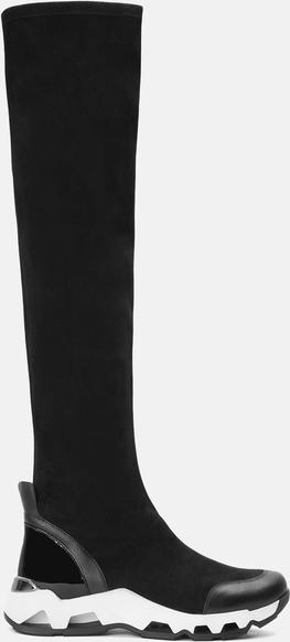 Czarne kozaki Kazar ze skóry na zamek