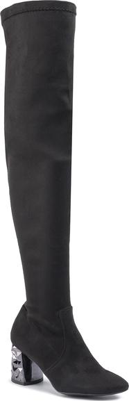 Czarne kozaki Oleksy na obcasie za kolano