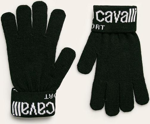 Czarne rękawiczki Roberto Cavalli Sport