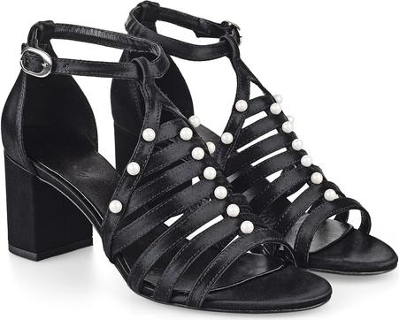 Czarne sandały Celebrity ze skóry w stylu klasycznym z klamrami