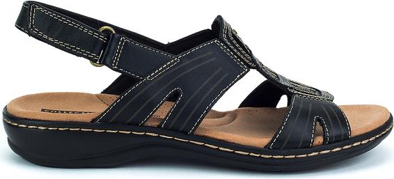 Czarne sandały Clarks w stylu casual na niskim obcasie na rzepy