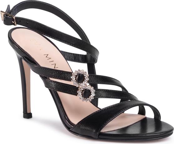 Czarne sandały Eva Minge w stylu klasycznym na wysokim obcasie