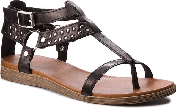 Czarne sandały eva minge z płaską podeszwą ze skóry w stylu casual