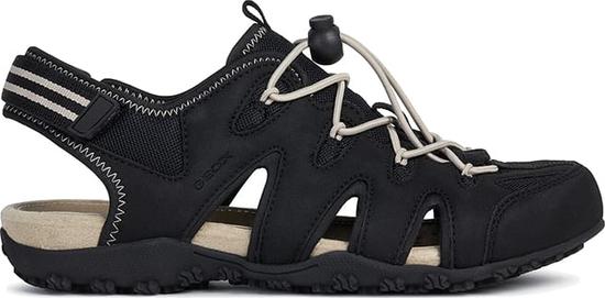 Czarne sandały Geox z płaską podeszwą w sportowym stylu ze skóry