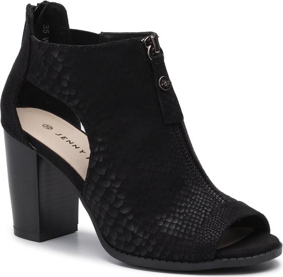 Czarne sandały Jenny Fairy na średnim obcasie na obcasie