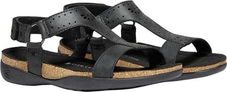 Czarne sandały Keen z płaską podeszwą ze skóry