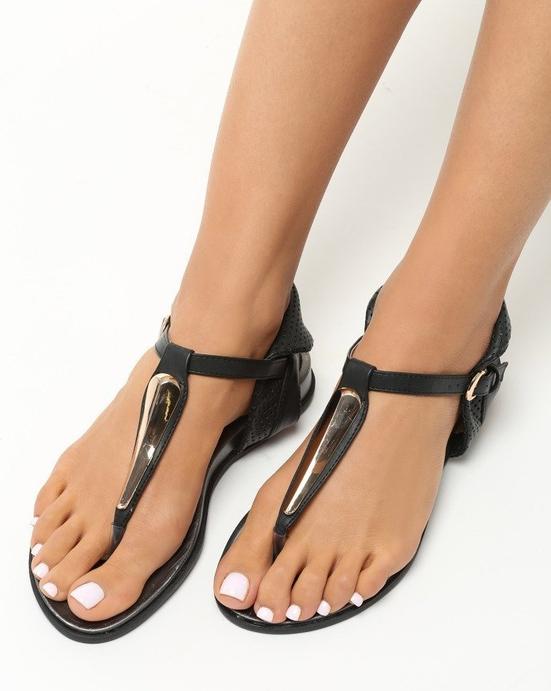 Czarne sandały Multu z klamrami w stylu casual