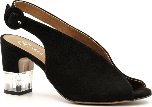 Czarne sandały Neścior na średnim obcasie
