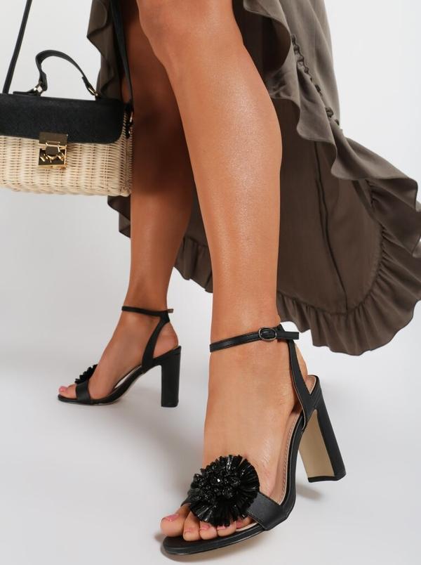 Czarne sandały Renee ze skóry ekologicznej z klamrami na wysokim obcasie