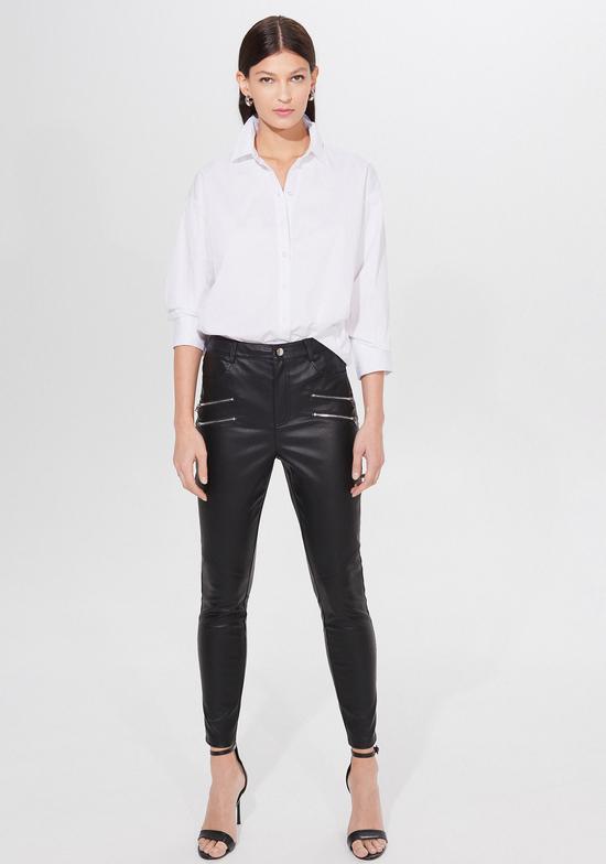 Czarne spodnie Mohito ze skóry w rockowym stylu