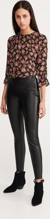 Czarne spodnie Reserved ze skóry