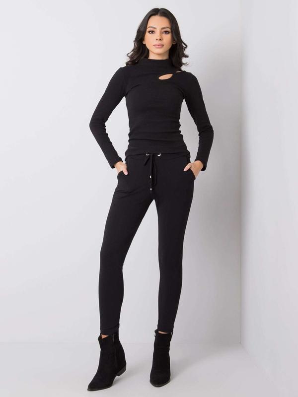 Czarne spodnie sportowe Sheandher.pl z dresówki