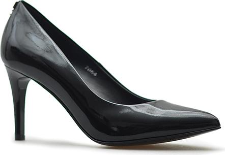Czarne szpilki Sala w stylu glamour na wysokim obcasie