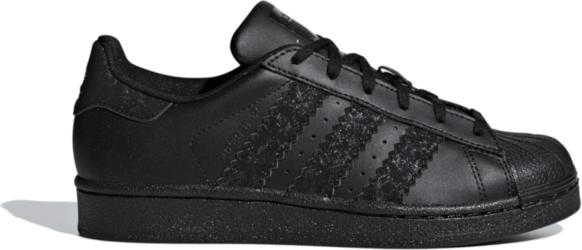 Czarne trampki Adidas ze skóry sznurowane