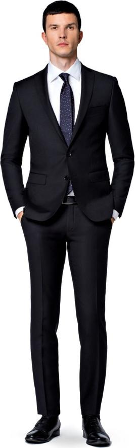 Czarny garnitur LANCERTO z wełny