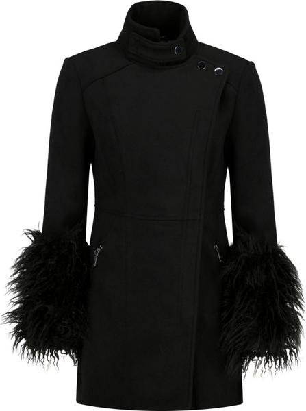 Czarny płaszcz Armani Exchange z wełny