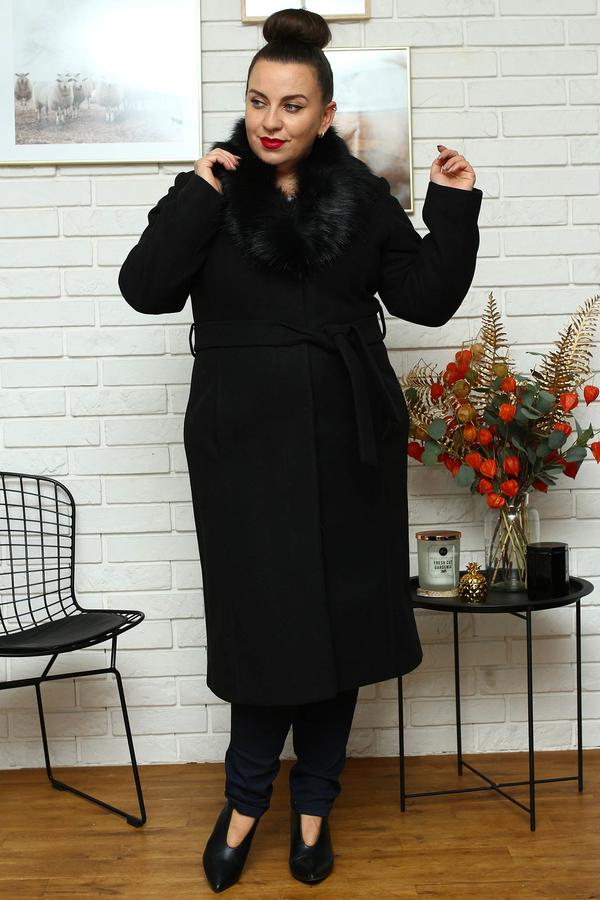 Czarny płaszcz KARKO w stylu casual
