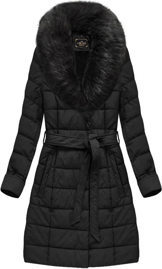 Czarny płaszcz Libland długa w stylu casual