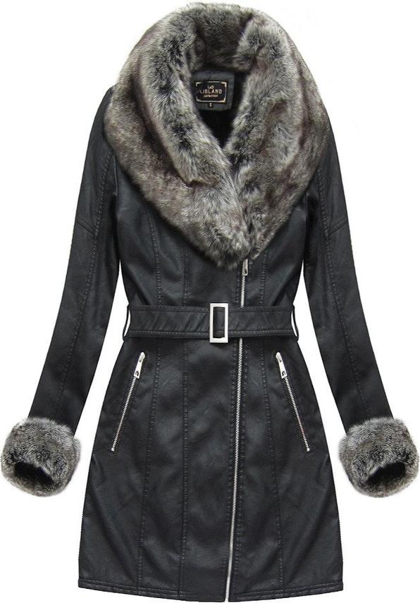 Czarny płaszcz Libland ze skóry ekologicznej