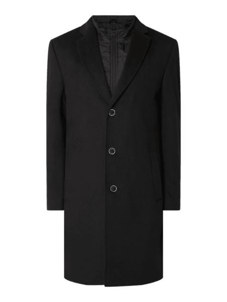 Czarny płaszcz męski Christian Berg Men z wełny