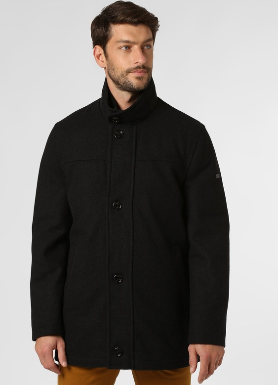 Czarny płaszcz męski Daniel Hechter w stylu casual z wełny