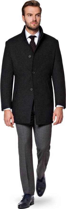 Czarny płaszcz męski LANCERTO z wełny